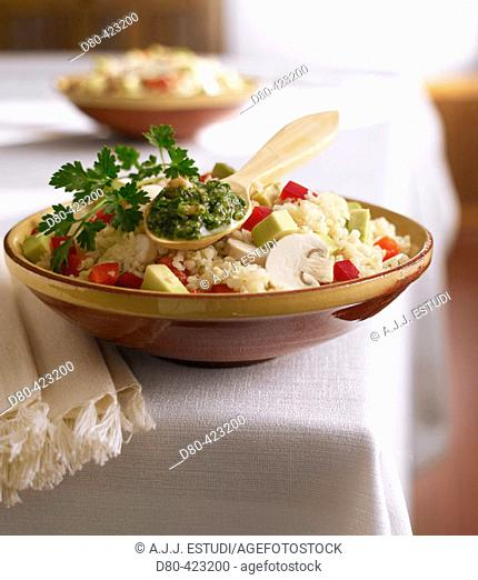 Wheat with parsley sauce