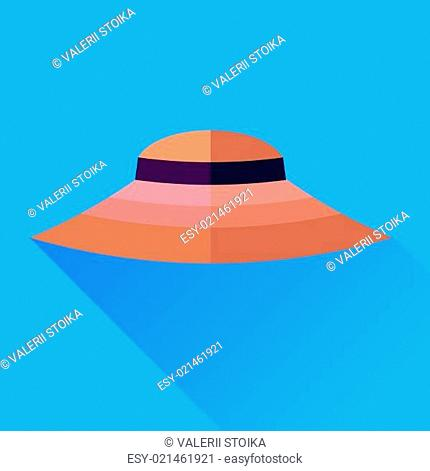 Pink Hat Isolated on Blue Background. Hat Icon