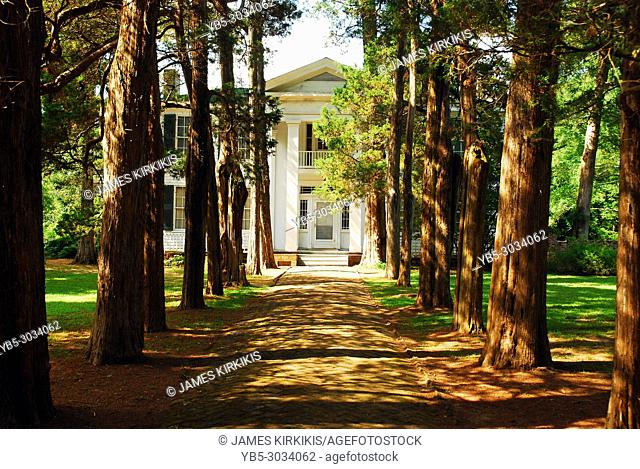 A tree lined path leads to Rowan Oak, William Faulkner's home in Oxford, Mississippi
