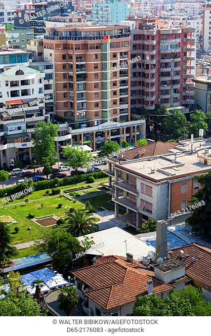 Albania, Tirana, Blloku area, formerly used by Communist party elite, elevated view of the home of Enver Hoxha, former Communist-era leader