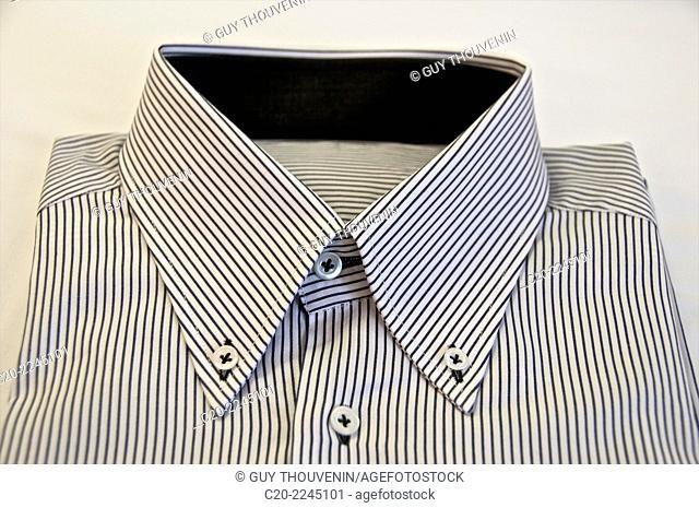 Striped blue and white hand made shirt, italian fashion, Venice , Italy