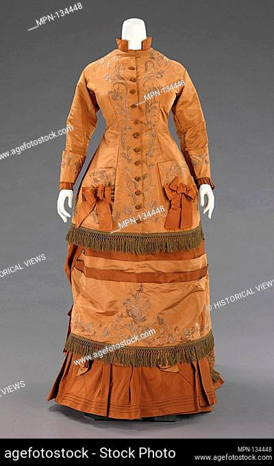 Afternoon dress. Date: 1874; Culture: American; Medium: silk; Credit Line: Brooklyn Museum Costume Collection at the museum, Gift of the Brooklyn Museum