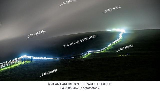 Carrerra de montaña en el Parque Natural del monte Gorbea. Vizcaya. Pais Vasco. España. Europa