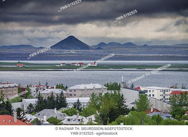 Bessastadir with Mt Keilir in the background, Alftanes, Iceland. . Bessastadir-residence of the President of Iceland.