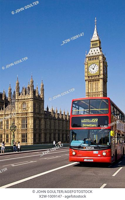 London, Red Bus, and, Big Ben, with, Houses of Parliament, UK