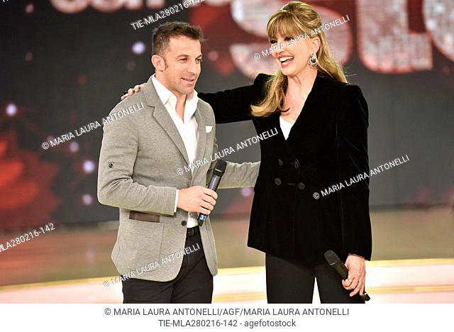 Former football player Alessandro Del Piero with Milly Carlucci during the talent show Dancing with the stars, Rome, ITALY-27/02/2016
