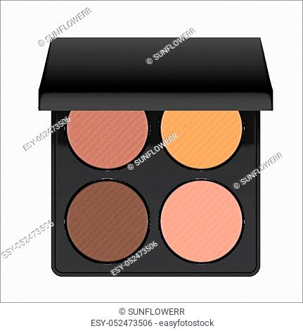 Realistic nudes eyeshadow palette. Package with eye shadow for nude makeup: brown, beige and pink. Containers of cosmetic product for beauty eyes