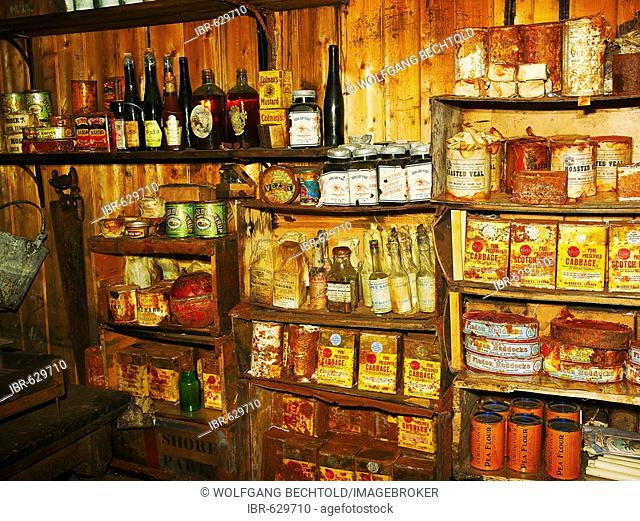 Scott's Hut, interior view, shelf with supplies, at Cape Evans on Ross Island, Antarctica