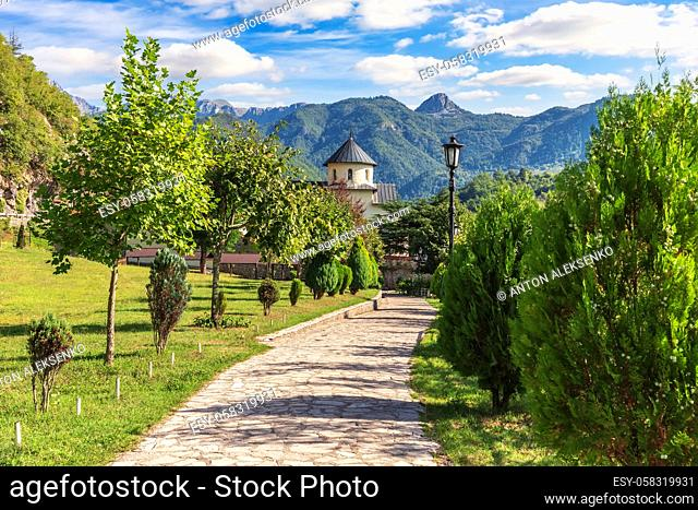 Beautiful medieval Moracha Monastery, Church of the Assumption of Mary, Montenegro