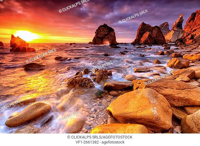 Breathtaking Sunset over Beach Ursa, Sintra, Portugal