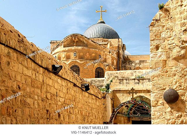 ISRAEL, JERUSALEM, 14.03.2009, Church of the Holy Sepulchre at the end of the via Dolorosa, the suffering and crossway of Jesus Christ in the old town of...