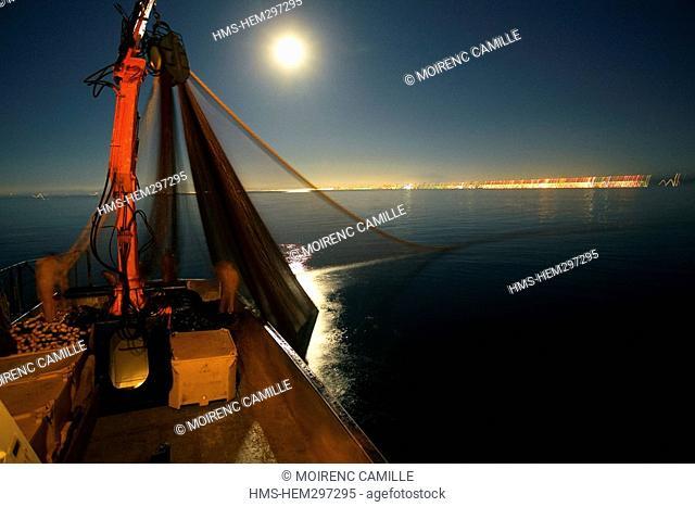 France, Pyrennees Orientales, Port Vendres, Lamparo fishing, pulling back fishing nets