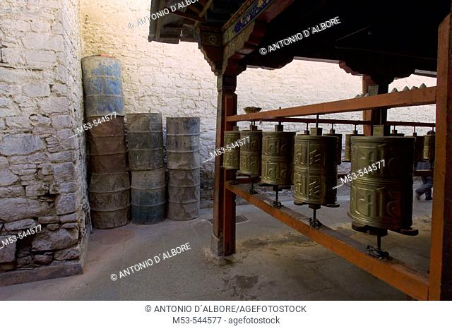 pray wheels in the ramoche temple. lhasa. lhasa prefecture. tibet. china. asia