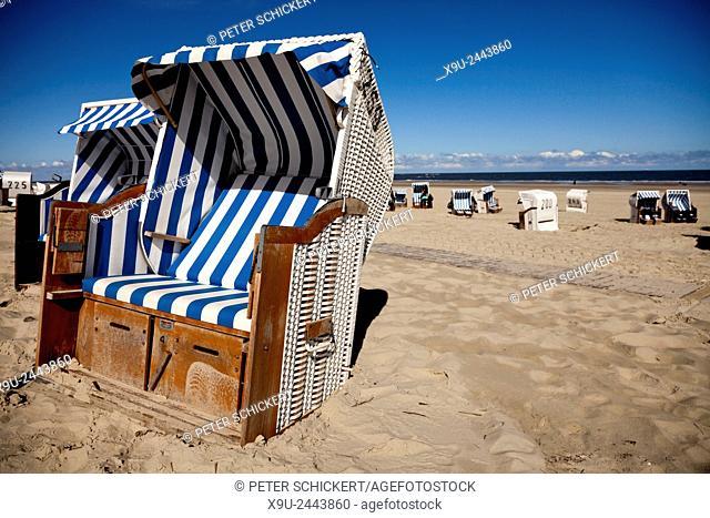 Strandkorb - beach chairs on the main beach, East Frisian Island Spiekeroog, Lower Saxony, Germany
