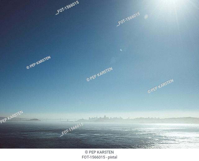 Scenic view of sea against sky on sunny day, San Francisco, California, USA