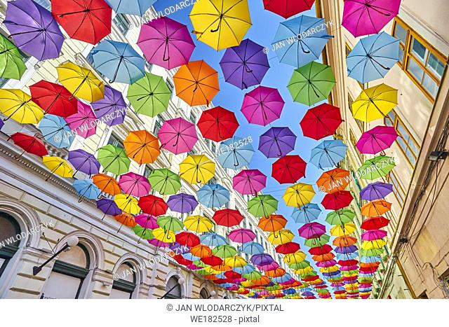 Street with colored umbrellas in Timisoara, Romania