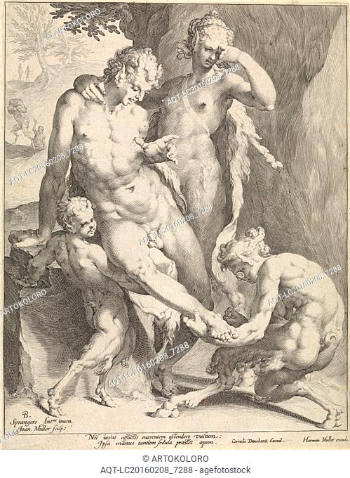 A Oreade, with spectacles on nose, removing a thorn from the foot of a satyr, the satyr is supported by a female and a young Oreade, print maker: Jan Harmensz