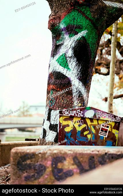 Close up picture of urban city graffity