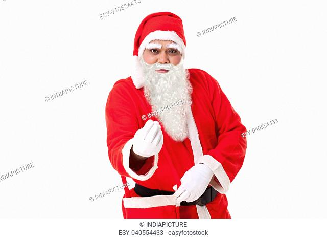 Portrait of Santa Claus gesturing over white background