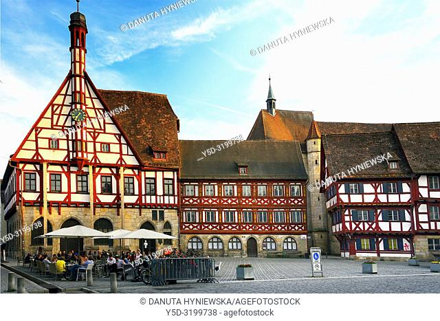Half-timbered buildings at Rathausplatz - Town hall square, on left - Rathaus - Town Hall, in background St. Martin church, historic part of Forchheim