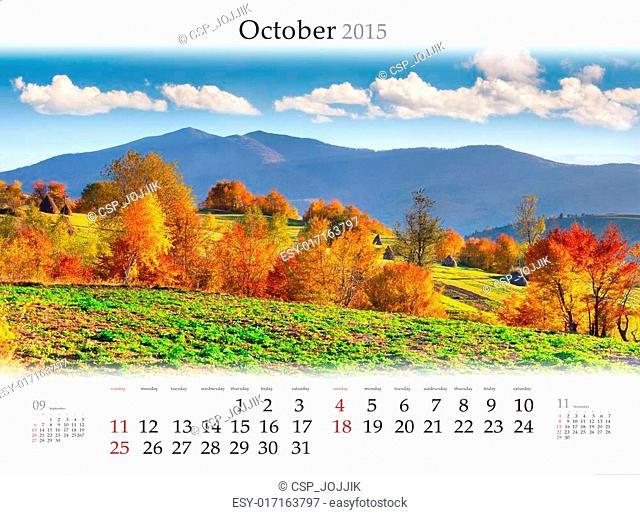 Calendar 2015. October. Colorful autumn landscape in mountains