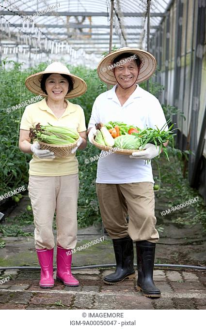 Farmer couple holding vegetables in greenhouse, smiling