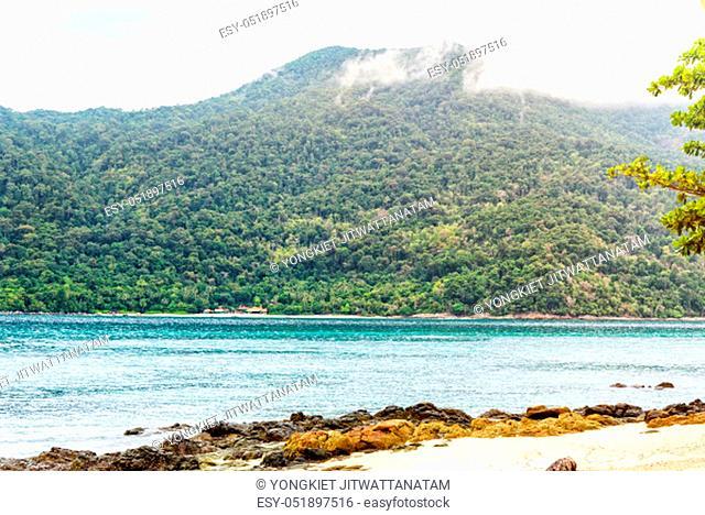 Beautiful nature landscape of Ko Adang island, beach and sea, under the morning sunlight in summer looking from Koh Lipe island, Tarutao National Park, Satun