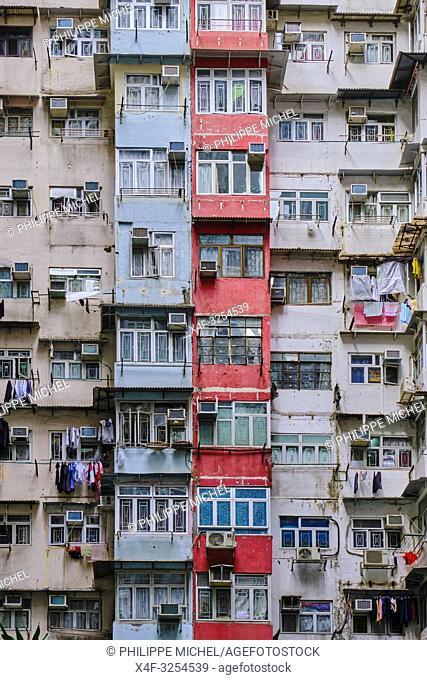 Chine, Hong Kong, Hong Kong Island, quartier d'habitation très dense / China, Hong Kong, Hong Kong Island, densely crowded apartment buildings
