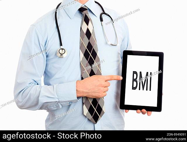 Doctor, isolated on white backgroun, holding digital tablet - BMI