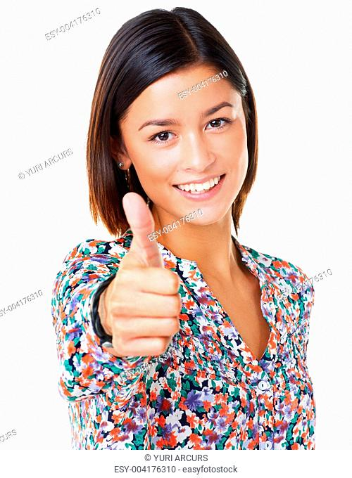 Pretty young asian woman with wide smile isolated on white background giving you the thumbsup