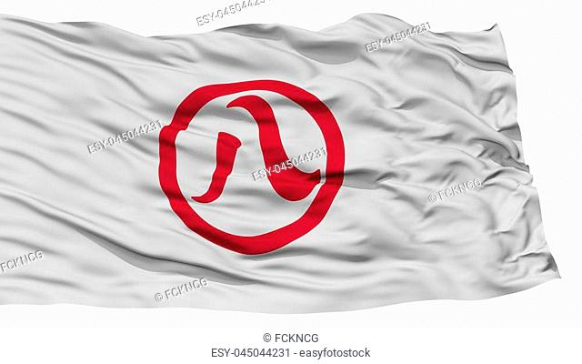 Isolated Nagoya Flag, Capital of Japan Prefecture, Waving on White Background, High Resolution