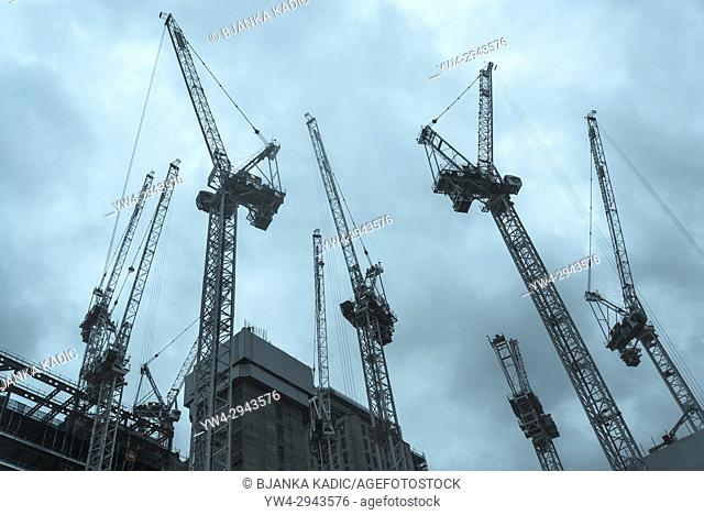 Construction site cranes, London, UK