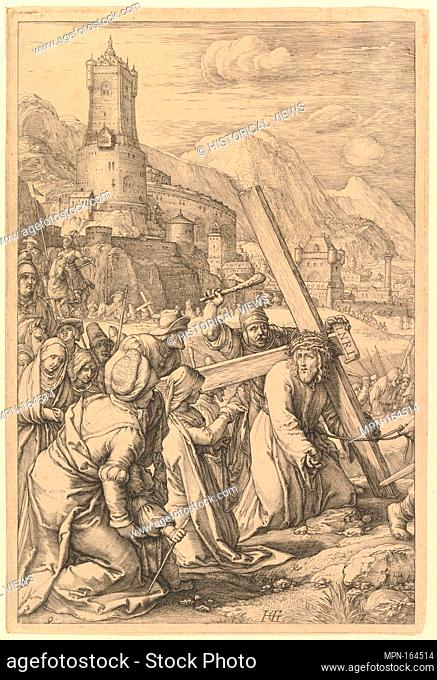 Christ Carrying the Cross, from The Passion of Christ. Artist: Hendrick Goltzius (Netherlandish, Mühlbracht 1558-1617 Haarlem); Date: 1596-1598; Medium:...