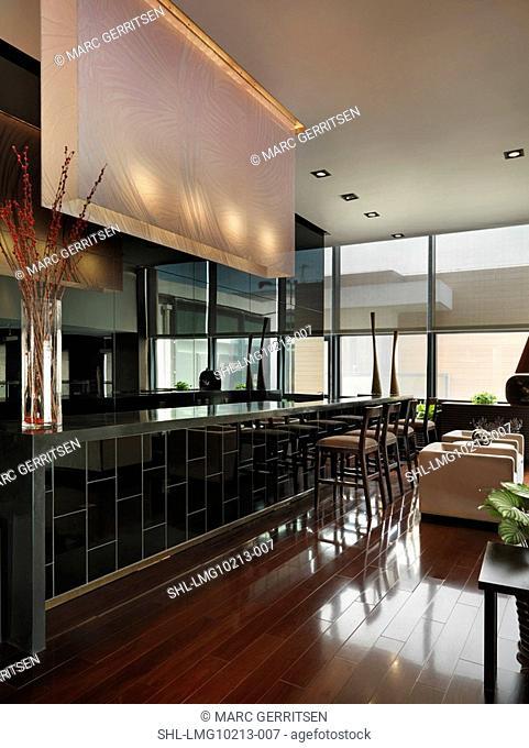 Detail bar in modern apartment lobby