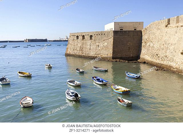 Castle of Santa Catalina,walls and sea with boats,Andalucia