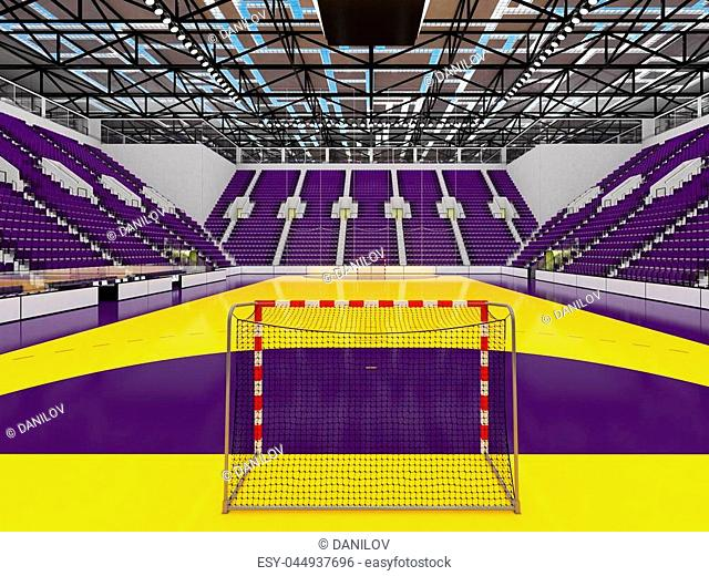 3D render of beautiful sports arena for handball with floodlights and purple seats and VIP boxes for ten thousand people