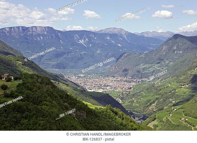 The town Bozen is surrounded by mountains, South Tyrol, Italy