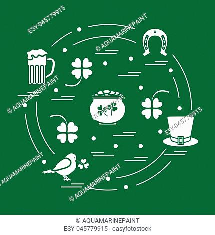 Cute vector illustration with different symbols for St. Patrick's Day arranged in a circle. Design for banner, poster or print