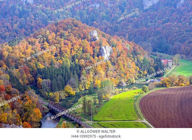 Vantage point, Baden-Wurttemberg, near Irndorf, bridge, trees, Germany, Danube, Danube valley, railroad bridge, Europe, river, river, water, autumn