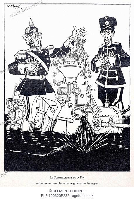 WW1 caricature by artist Carlin showing Prussian Crown Prince / Kronprinz Wilhelm von Preußen and Kaiser Wilhelm II destroying German toy soldiers