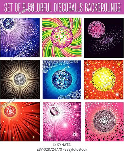 Set of vector colorful icons - discoball