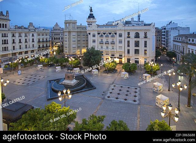 Cordoba Andalusia Spain Tendillas square by sunrise aerial view