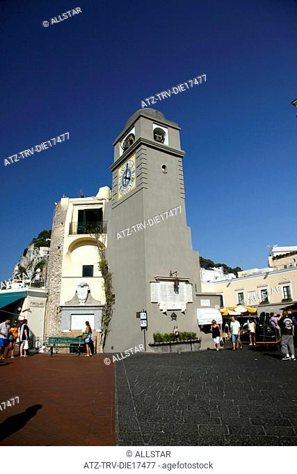 CLOCK TOWER AT PIAZZA UMBERTO I, LA PIAZZETTA; ISLAND OF CAPRI, ITALY; 17/09/2011