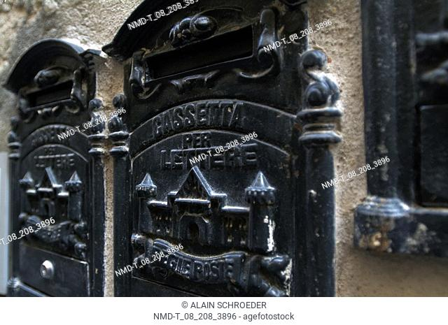 Close-up of metal sculptures on a wall, Orvieto, Umbria, Italy