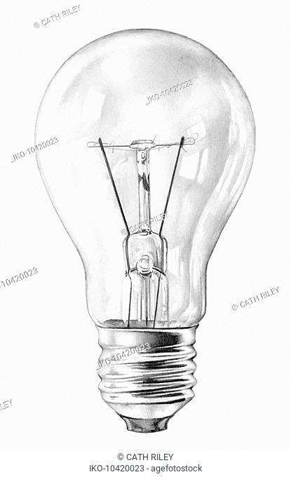 Close up pencil drawing of filament light bulb
