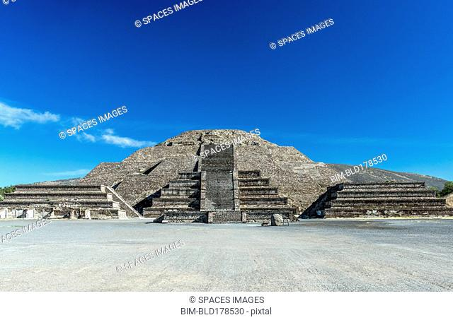 Pyramid ruins under blue sky, San Juan Teotihuacan, State of Mexico, Mexico