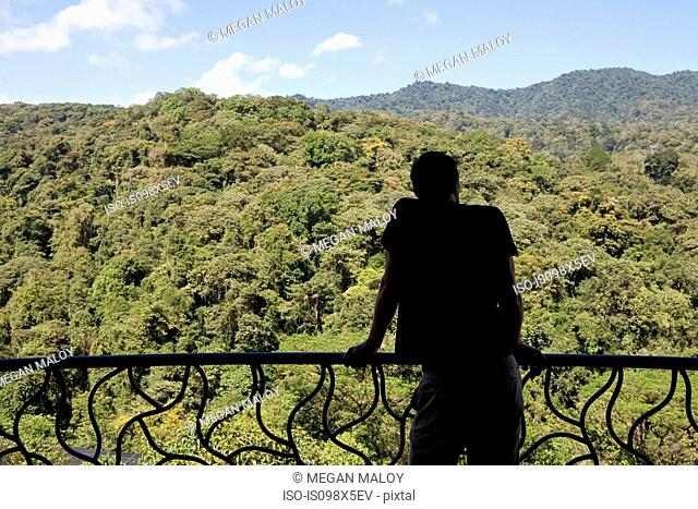 Man on balcony looking at view of rainforest, Costa Rica