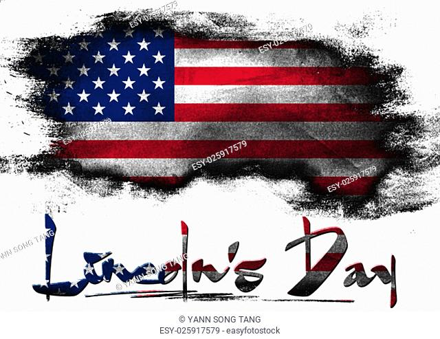 Flag of United States painted with brush on solid background, Lincoln Day