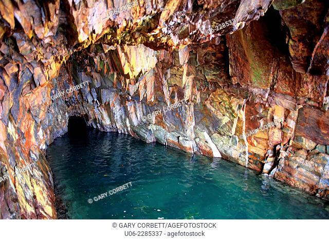 A sea cave at the Ovens Natural Park in Nova Scotia, Canada