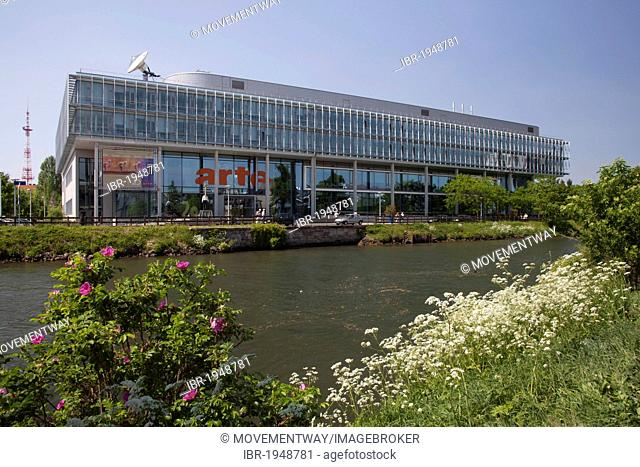 TV channel Arte TV on the Ill river, Strasbourg, Alsace, France, Europe